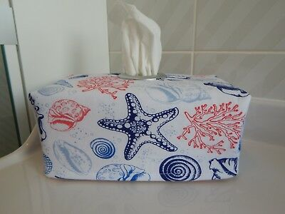 Sea Shells Beach Theme Nautical Tissue Box Cover With Circle Opening