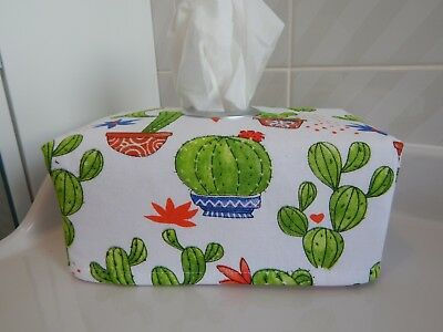 Flowering Potted Cactus Tissue Box Cover With Circle Opening