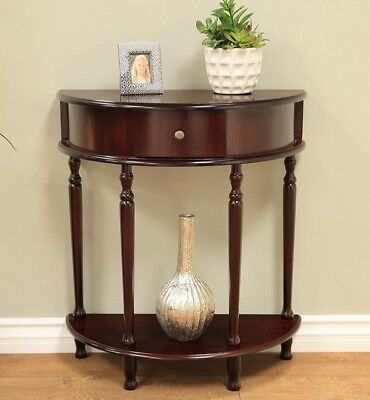 Small Console Table Half Moon Demilune Stand With Shelf Storage Foyer Hallway