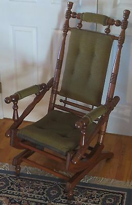 Antique Platform Rocking Chair Victorian Eastlake Late 1800's Oak Wood