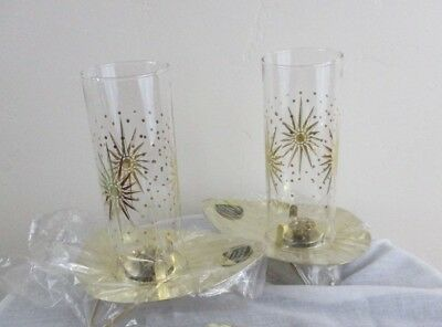 Vintage Mid Century Modern Candle Holder Dead Stock gold star burst atomic glass