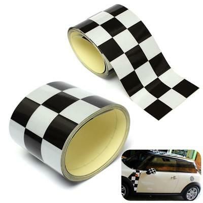 3'' Black&White Checkered Flag Vinyl Decal Tape Car Bike Motorcycle Tank Sticker