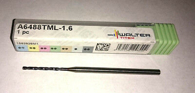 WALTER 1.6mm SOLID CARBIDE DRILL A6488TML-1.6 THRU COOLANT K30F TiNAl COATED