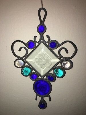 Stained Glass Beveled Cross Suncatcher - Cobalt  Aqua Blue 8""