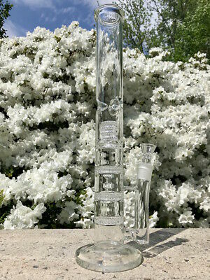 "Hookah Water Pipe Bong Glass 18 inch 18"" triple honeycombs with ice catcher"