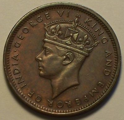 British Mauritius, 1943 - SA George VI Two Cents, 2 Cents. 290,000 Mintage.