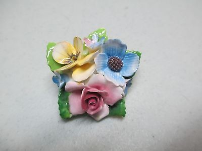 Vintage Crown Staffordshire England Bone China Flowers Hand Painted Brooch Pin *