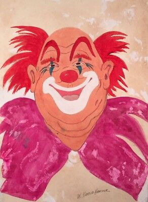 VINTAGE W Harold Hancock CLOWN Painting CIRCUS ART Brown County INDIANA Original