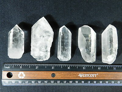 Lot of FIVE! Nice and 100% Natural Quartz Crystals Found in Brazil 219gr
