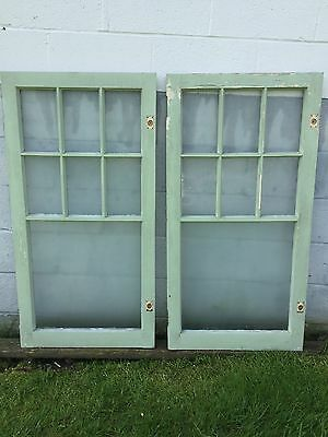 2 Shabby Chippy Antique 7 Pane Old Flat Glass Paint Wood Mullions Window Pickup