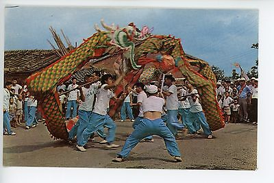 Vintage Taiwan Chrome PC - Dragon Dance Chinese New Year ca. 1950s