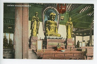 Buddha in Temple -Antique China Postcard- Chinese American Pub Shanghai 1920s