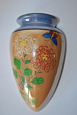 Lusterware Wall Pocket Vase Hand Painted  Japan - Butterfly & Flowers