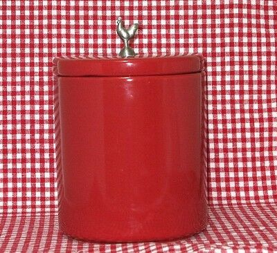 Large Red  Kitchen Canister w/ Pewter Finial Rooster  Boston Warehouse