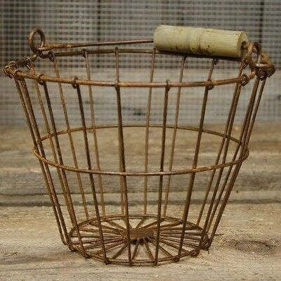 "Farmhouse Rusty Metal Wire Basket w/ Wooden Handle 6"" x 8"" Vintage Country Decor"
