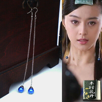 Hand made Chinese Long blue Pearl Antique Asian Style Ancient Earrings