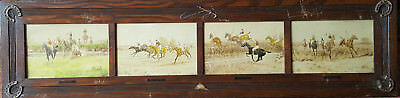 Vintage Oak Carved Equestrian Panel Of 4 Horse Racing Paintings Signed Blinks