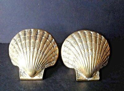 Vintage Pair Solid BRASS Scallop Clam Shell Book Ends HEAVY Great Patina