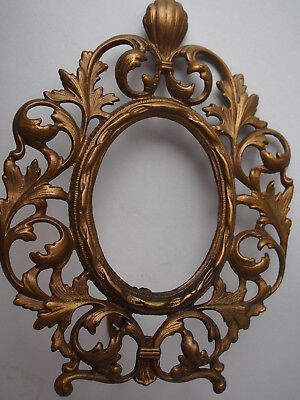 "11"" Antique French Cast Iron Bronzed Gilt Shell Leaves Picture Frame Stand Easel"