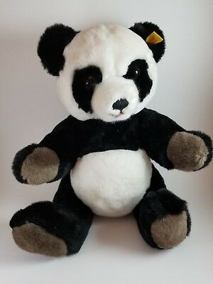Steiff Western Germany @1988 Panda Bear w/ Tag and Button Moveable Legs and Head