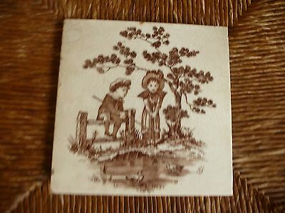 Victorian Tile by Wedgwood Factory  1860 - 1870 Childrens pastimes
