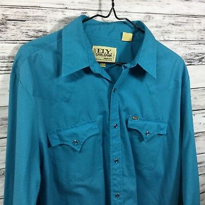 """Vintage ELY Cattleman Western Shirt  Turquoise  Pearl Buttons  46"""" Chest  EUC"""