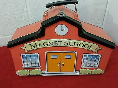 Parents Magazine MAGNET SCHOOL Tin Metal Box ABC Cards Back to School Elementary