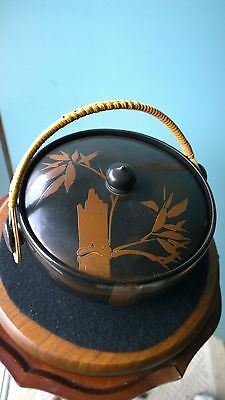 "Vintage Japan Lacquered Wood Lidded Bowl Bamboo Design w/Handle 7"" x 4""."