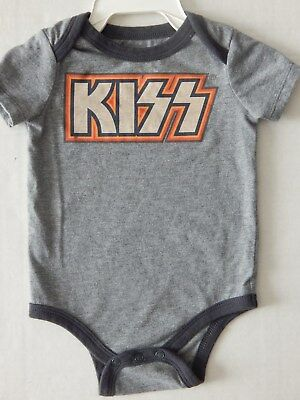 New! Baby Sz 12 Mo Kiss Vintage Logo One Piece Creeper Rock & Roll Band T-Shirt