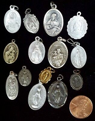 Lot of 14 Vintage Metal Religious Medals St. Joseph Virgin of Carmel Miraculous