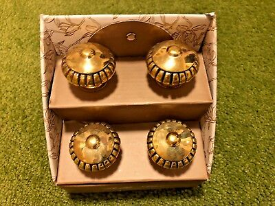NEW Set of 4 BELLE LUX Metal GOLD Colored  Cabinet Drawer Pull Knobs