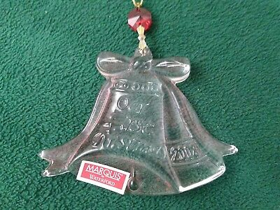 "2008 Waterford Marquis Ornament ""Our First Christmas"" Crystal Bells  NIB  (OM36)"