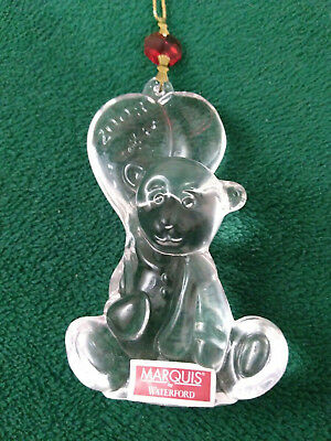 Waterford Marquis Crystal 2008 Baby's 1st Christmas Teddy Bear Ornament   (OM34)