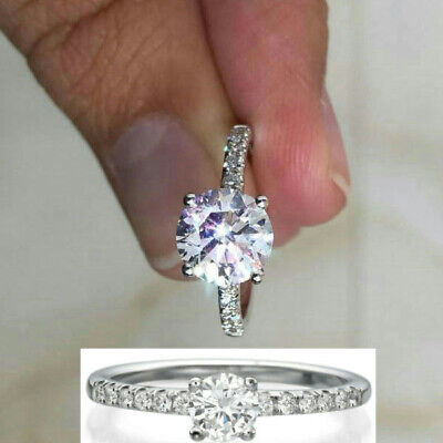 Diamond Ring 2 1/4 Carat D Si1 Round Solitaire Accented 14 K White Gold 4 Prong