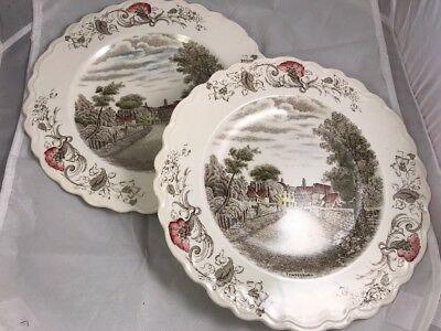 Set Of 2 Charming England Pattern Crown Ducal Dinner Plates