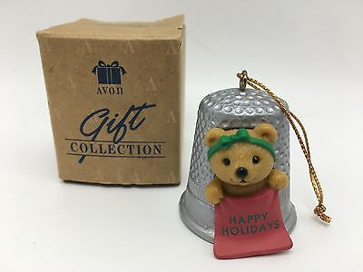 Avon Gift Collection Christmas Cutie Ornament Thimble Teddy Happy Holidays NIB