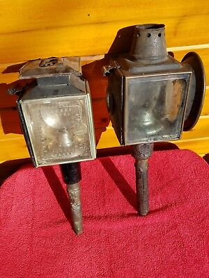 Antique Pair of Buggy / Carriage Lanterns Lamps -  Whale Oil lamps?