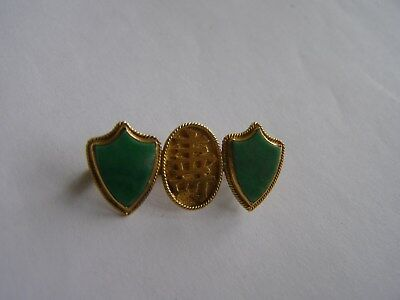 Chinese Fine Green Imperial Jade/ Jadite Pin in 20 kt. Gold