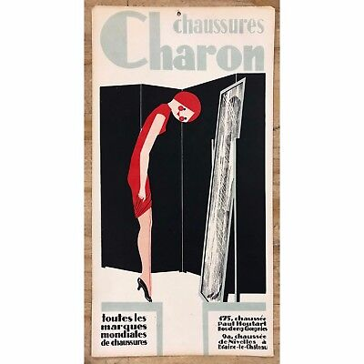 CHARON Vintage Antique Orig French Sign Advertising Cardboard 1930's Shoes Deco