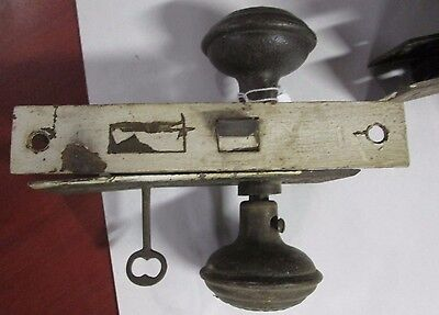 Complete Set Of Antique Door Knob Combination W/ Lock, Key & Back Plates # 326