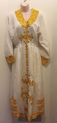 Traditional embroidered Ethiopian Habesha dress 2 piece 100% cotton-Yellow/gold