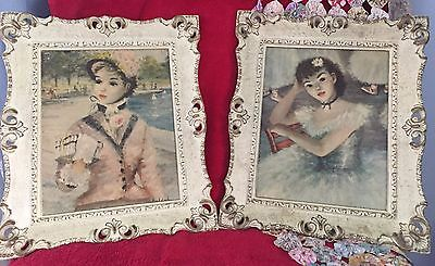 Pair of Vintage Cherry Jeffe Huldah Prints in Matching French Provencial Frames