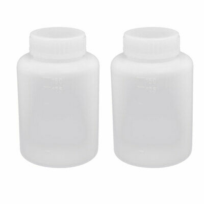 150ml 28mm Diameter HDPE Plastic Round Wide Mouth Bottle White 2pcs