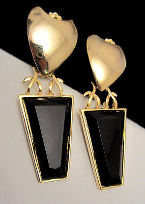 "Huge Quality Vtg 3-1/4"" Goldtone Black Dangle Clip On Earrings New Old Stock AH7"