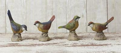 New French Country Shabby Chic Set 4 Song Birds Garden Stoneware Bird Figurine