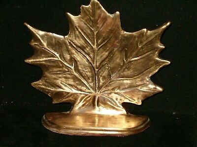 Vintage Solid Brass Made In India Maple Leaf Door Stop/ Bookend