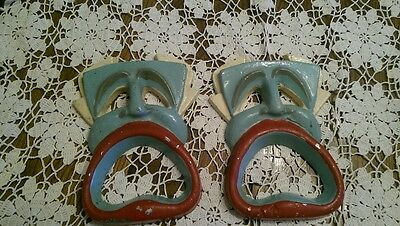 Vintage Cast Metal Aladdin Face with Large Mouth Bottle Openers, Set of two