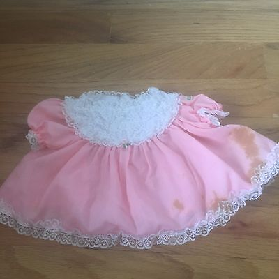 Vintage Cabbage Patch Pink Dress With White Lace Doll Clothes