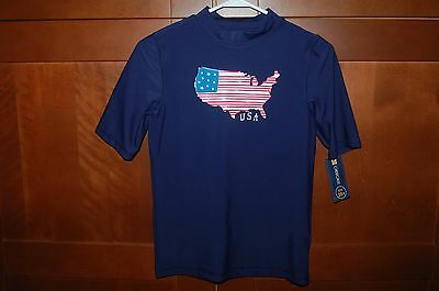 USA SWIM SHIRT Blue Size L (12/14) Child UPF 50+ UV Protection by Cherokee NWT