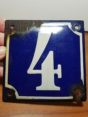 Antique French Blue & White Enamel House Number Sign #4